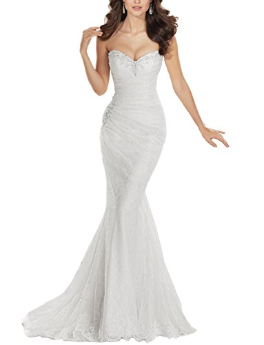 31j14faPheL Soft and breathable lace, with sweetheart and pleated Mermaid wedding dress with lace up. Beautifully hand-beaded around the neckline and the waist The newest style, it is the best choice for Wedding Dress, Bridal Gown, also can be dressed as Evening Dress, Prom Dress And Other Special Occasions.