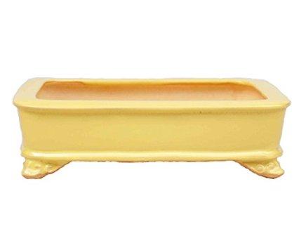 YUKIMONO Tokoname Rectangle Bonsai Pot,7.5-Inch Yellow