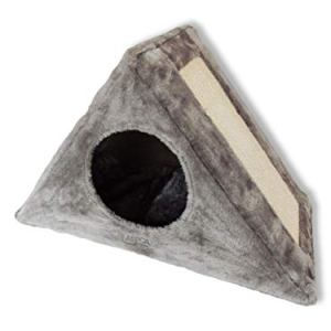 ASPCA Triangle Foldable Cat Cave Bed with Scratching Board 11