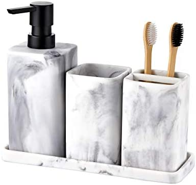 zccz Bathroom Accessory Sets, 4 Pieces Bathroom Accessories Complete Set Vanity Countertop Accessory Set with Marble Look, Includes Lotion Dispenser Soap Pump, Tumbler, Toothbrush Holder and Tray