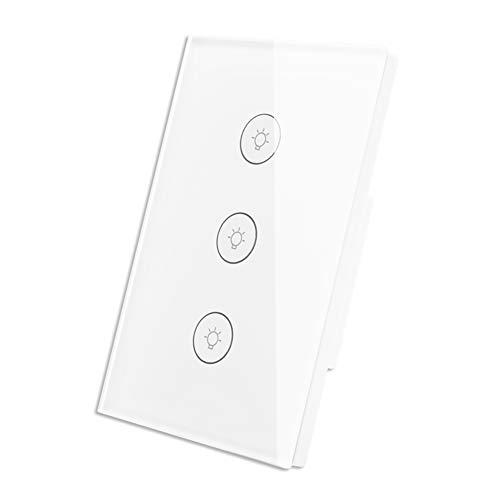 Interruptor WiFi Inteligente de Luz de Pared Táctil con Panel de Vidrio Control Remoto Inalámbrico...