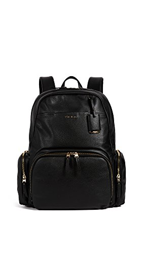 """Interior features padded 15"""" laptop compartment 3 open pockets 1 zip pocket Exterior features double zip entry to main compartment front u-zip pocket with 2 media pockets/pen loop inside 2 side pockets 1 slip pocket leather top carry handle padded back straps 5.5x12.25x16"""