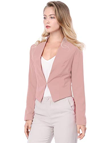 Allegra K Women's Collarless Work Office Business Casual Cropped Blazer 15 Fashion Online Shop gifts for her gifts for him womens full figure