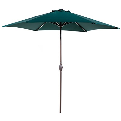 Abba Patio Outdoor Patio 9 Feet Aluminum Market Table Umbrella with Push Button Tilt and Crank, Dark Green