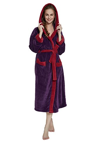Women s Hooded Bathrobe by OUFANG – LILAC BORDEAUX Soft spa Kimono Shawl  Collar Hooded Long Robe Unisex ... 84c002385
