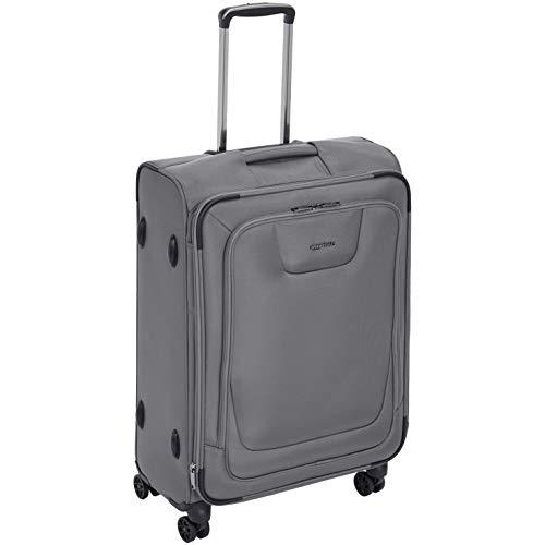 AmazonBasics Premium Expandable Softside Spinner Luggage With TSA Lock- 25 Inch, Grey