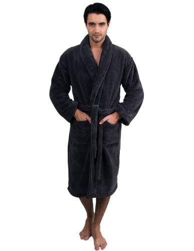 TowelSelections Men's Super Soft Plush Bathrobe Fleece Spa Robe Small/Medium Charcoal