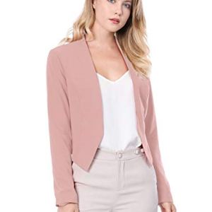 Allegra K Women's Collarless Work Office Business Casual Cropped Blazer 26 Fashion Online Shop gifts for her gifts for him womens full figure