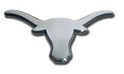 The University of Texas Longhorns METAL Auto Emblem - Many Different Colors Available! (Chrome (Black trim))