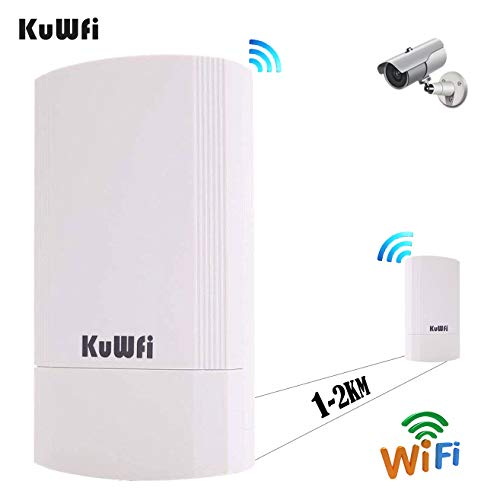 KuWFi Point to Point Wireless Long Range WiFi Bridge 5.8G 450Mbps Access Point Indoor/Outdoor AP CPE Kit Supports 1KM Anti-Interference for PTP/PTMP (Pre-Program WDS)