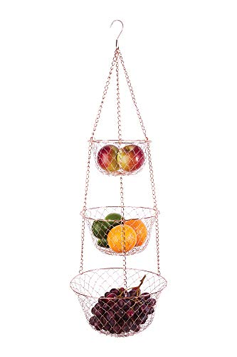 Fox Run 5211 3-Tier Copper Hanging Fruit Baskets, 32-Inches,