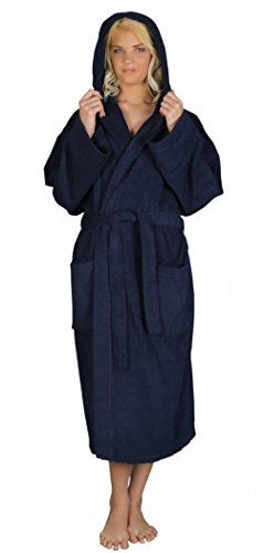 Arus Women's Classic Hooded Bathrobe Turkish Cotton Terry Cloth Robe (L/XL,N.Blue)