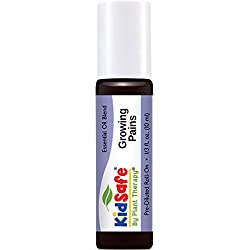 Plant Therapy KidSafe Growing Pains Synergy Pre-Diluted Essential Oil Roll-On. Ready to use! Blend of: Juniper Berry, Rosalina, Spruce, Turmeric and Blue Tansy. 10 ml (1/3 oz).