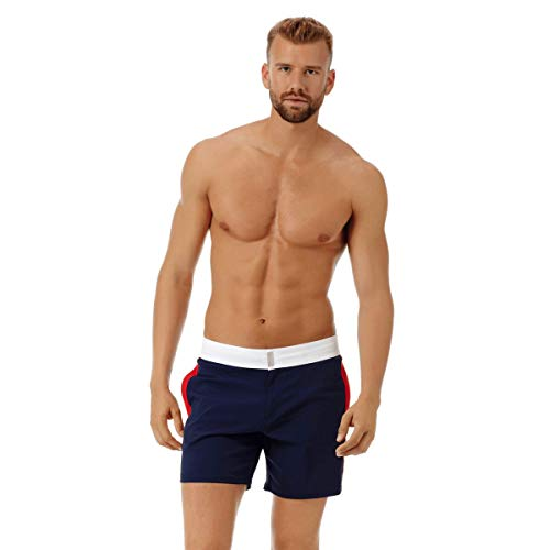 31lR3boUNNL Tricolor stretch swimtrunks with Flat waistband, Inner drawstring and Vilebrequin rectangle personalized snap button Two side pockets and one back and one piped back pocket with Velcro. Two back eyelets Side leg length in M : 15.6""