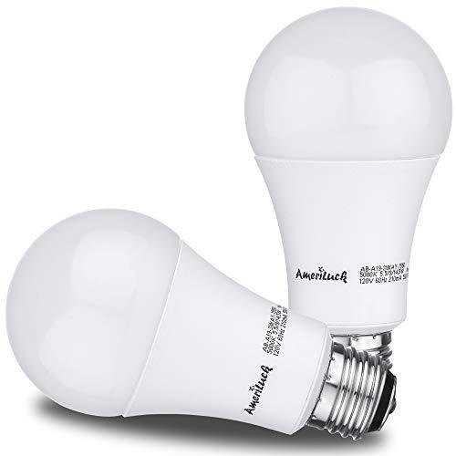 AmeriLuck LED 3-Way Light Bulb, Warm Soft White, 40-60-100W Equivalent, 500-1000-1500+Lumens, Lo-Me-Hi 5.5-9-14.5W, CRI 80+, Omni-Directional A19-UL Listed (2700K | 2 Pack)