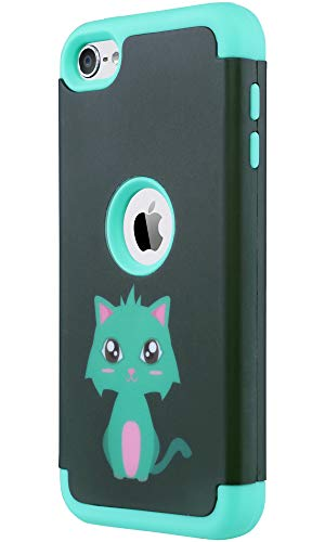 ULAK iPod Touch Case for Kids, Cartoon Heavy Duty Protecftion Shockproof High Impact Knox Armor Cover Protective Case for Apple iPod Touch 5 6th Generation (Mint Green Cat)
