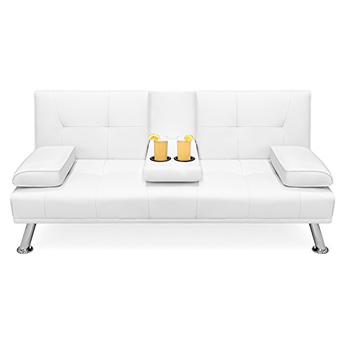 Best Choice Products Modern Faux Leather Convertible Folding Futon Sofa Bed  Recliner Couch w/Metal Legs, 2 Cup Holders - White - DUSTIN A. PURTAN