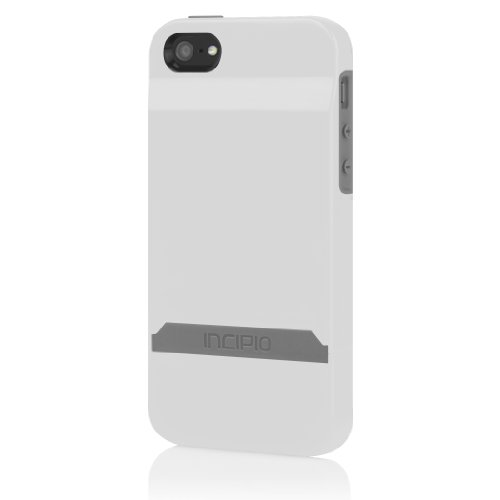 Incipio STASHBACK Case for iPhone 5S - Retail Packaging - White/Gray