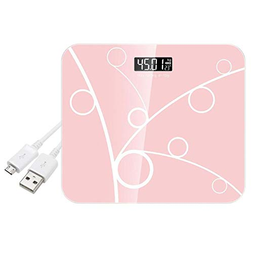 Bathroom Scales USB Charging Weight Body Scales LCD Digital Display Weighing Floor Electronic Smart Balance Household,Pink Charging