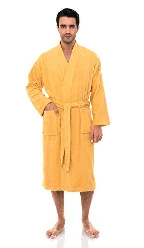 TowelSelections Men's Robe, Turkish Cotton Terry Kimono Bathrobe Small/Medium Golden Cream
