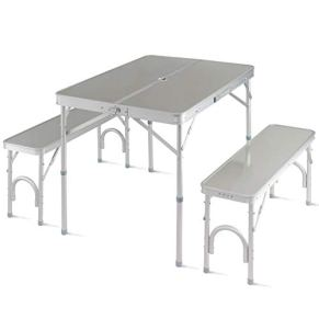 Giantex-Aluminum-Folding-Camping-Table-Outdoor-Portable-Picnic-Suitcase-Table-Set-wBench-4-Seat-Silver-36-L
