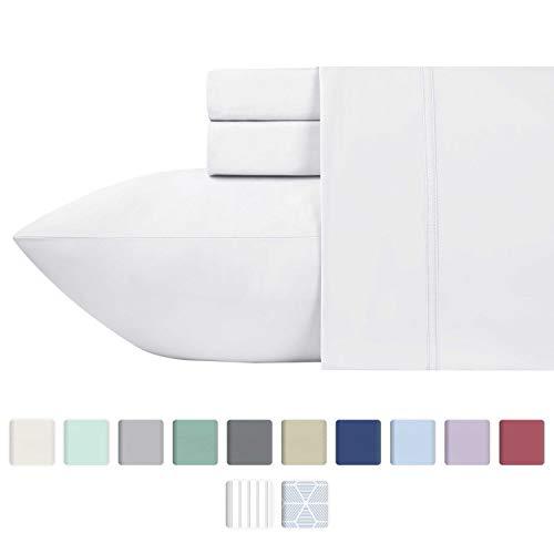 California Design Den 600 Thread Count 100% Cotton Sheets – Pure White Long-Staple Cotton Full Sheets, Fits Mattress Upto 18'' Deep Pocket, Sateen Weave, Soft Cotton 4 Piece Bed Sheets Set