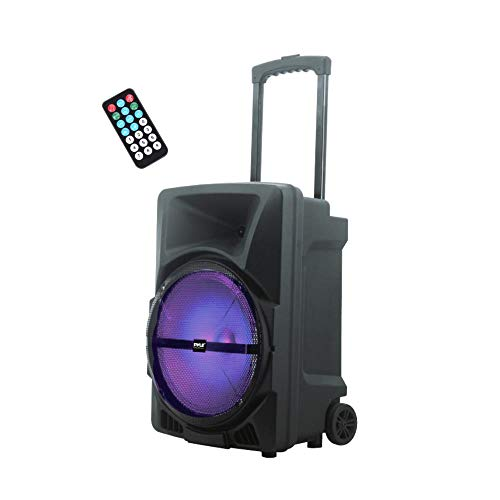 Pyle Wireless Portable PA Speaker System - 800W High Powered Bluetooth Compatible Indoor & Outdoor DJ Sound Stereo Loudspeaker w/USB SD MP3 AUX 3.5mm Input, Flashing Party Light & FM Radio-PPHP1244B