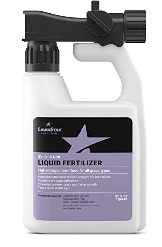 LawnStar 30-0-0 NPK Fertilizer (32 OZ) - Makes Grass Grow Greener, Faster - Liquid Lawn Food w/Slow Release Nitrogen - High Nitrogen Premium Blend, Treats Deficiency, All Grass Types - American Made