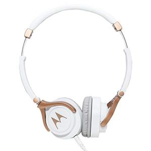 Motorola Pulse 3 On Ear Wired Headphone with Alexa (White and Gold)