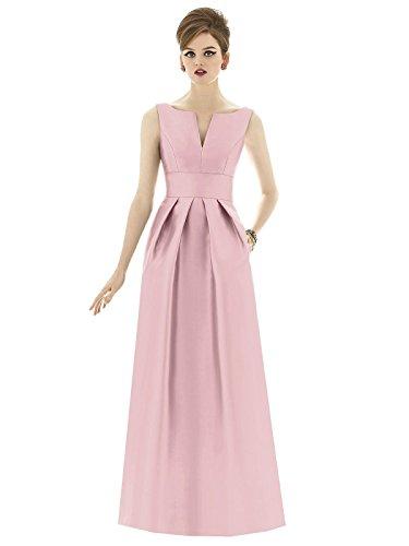 31o4Er eaoL Full length sleeveless sateen twill dress Split seam detail at neckline Inset midriff