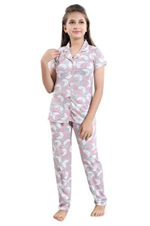 9shines Label Premium Cotton Printed Pyjama Set | Night Suit | Night Dress for Girls. (Light Grey, 16-17 Years)
