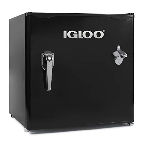 Igloo IRF32RSRD Classic Compact Refrigerator Freezer with with Chrome Handle & Bottle Opener, 3.2 Cu.Ft, Red