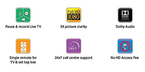 Airtel Digital TV HD Set Top Box with 1 Month Value Lite HD Pack 5