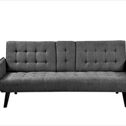 Container Furniture Direct Hash Fabric Upholstered Living Room Sleeper Sofa, 72″, Dark Gray