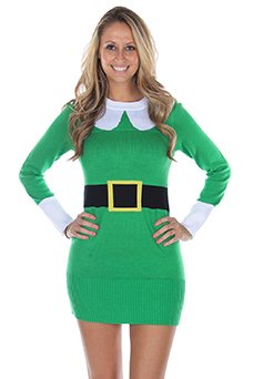 23a8bbfbf76d Women's Ugly Christmas Sweater - Green Elf Sweater Dress - Ugly Sweaters