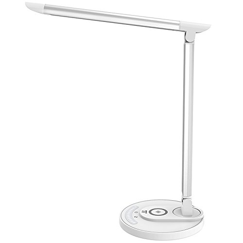 TaoTronics LED Desk Lamp Fast Wireless Charger, 7.5W for iPhone X, Plus, 10W for Galaxy, S9+, S8, S7 & Note 8 and All Qi-Enabled Devices, 5 Lighting Modes, USB Port (Upgraded Version), white