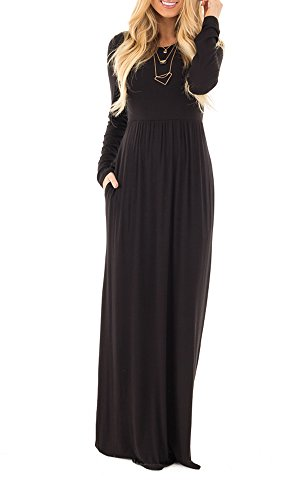 31oWONdA97L Material: Polyester,Spandex Size:Small/US4-6 ,Medium/US 8-10,Large/US 12-14,X-Large/US 16-18 Features:long sleeve,maxi dress,empire waist,solid color,casual
