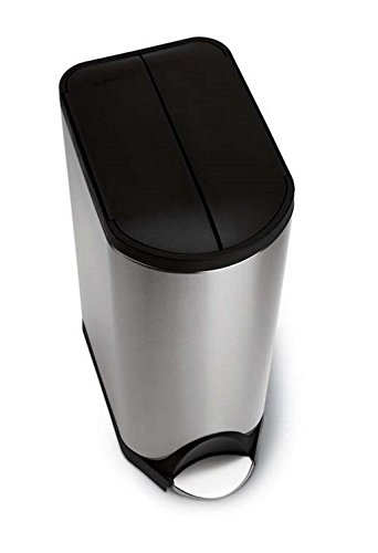 simplehuman Butterfly Step Trash Can, Stainless Steel, Plastic Lid, 30 L / 8 Gal