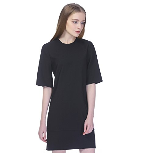 """Crew-neck shift dress featuring roomy elbow-length sleeves Stretchy luxe knit fabric, straight hem with mini side slits, invisible back zipper, black dress Wear this essential """"dressy"""" t-shirt dress on its own for a classic minimal look for the office or with statement accessories for a night out."""