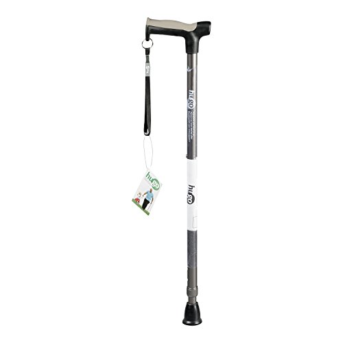Hugo Mobility Adjustable Derby Handle Cane with Reflective Strap, Smoke