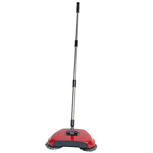 Dracarys Lazy 3 in 1 Household Cleaning Hand Push Automatic Sweeper Broom – Including Broom & Dustpan & Trash Bin – Cleaner Without Electricity Environmental (Red)