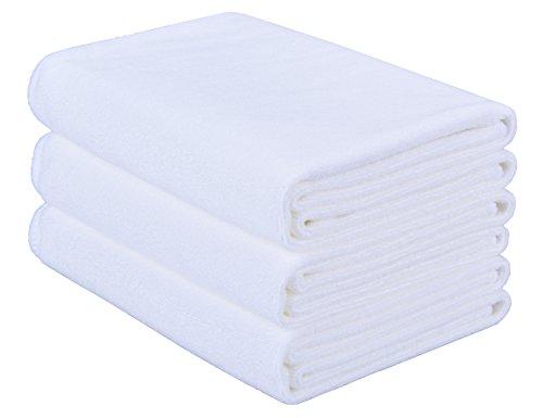 HOPESHINE Microfiber Soft Hotel Towel Fast Drying Sports Towel Travel Gym Towels 3-Pack 16inch X 32inch (White)