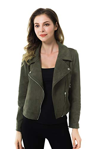 Apperloth Faux Suede Jackets for Women Long Sleeve Zipper Short Moto Biker Coat 1 Fashion Online Shop Gifts for her Gifts for him womens full figure