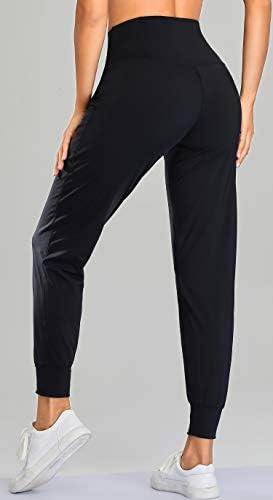 Oalka Women's Joggers High Waist Yoga Pockets Sweatpants Sport Workout Pants 4