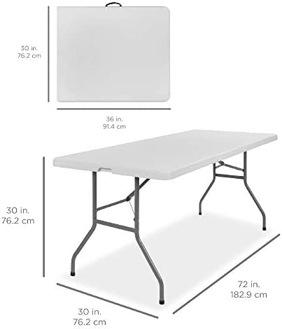 Best Choice Products 6ft Indoor Outdoor Heavy Duty Portable Folding Plastic Dining Table w/Handle, Lock for Picnic, Party, Camping - White 7