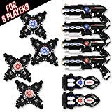 Power Tag Infrared Laser Tag Gun & Vest Set – for Kids & Adults – 6 Player Bonus Pack with 4 Guns, 4 Vests and 2 Battle Blasters – Infrared -1mW
