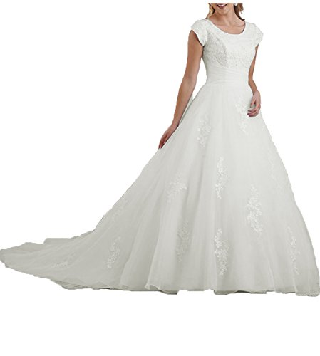 31qh8o1PhsL Features: Sweep train a-line Jewel Lace wedding dress Modest Vintage bridal gown for bride 2016 with covered button back Fabric: Organza & Lace. Vintage Classic Style Made to order dress available in Ivory and White Color
