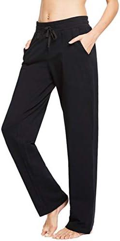 BALEAF Women's Cotton Leisure Drawstring Yoga Sweatpants Straight Bottom Leg Lounge Walking Wide Pajamas Pocketed 1