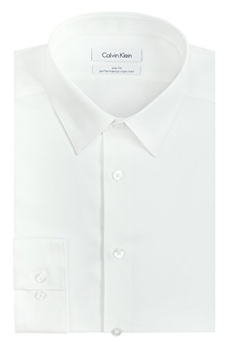 Calvin Klein Men's Dress Shirt Slim Fit Non Iron Herringbone, White, 15' Neck 32'-33' Sleeve (Medium)
