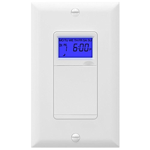 TOPGREENER TGT01-H Digital Switch, Astronomic in-Wall 7-Day Programmable Sunrise Sunset, Timer with Solar Time Table, Dusk to Dawn, Neutral Wire Required, White